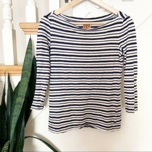 Tory Burch striped linen navy and white shirt XS